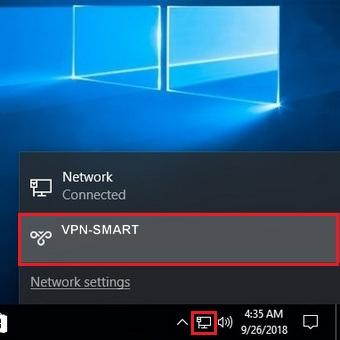 VPN turning ON/OFF in Windows 10.