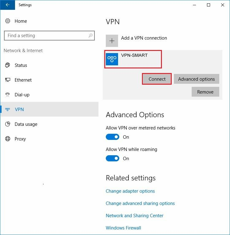 Configure VPN L2TP/IPSec in Windows 10. Step 11.