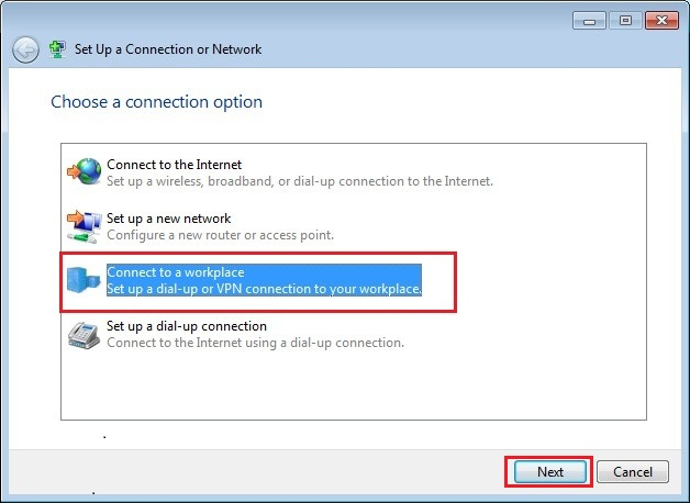 Configure VPN PPTP in Windows 7. Step 5.